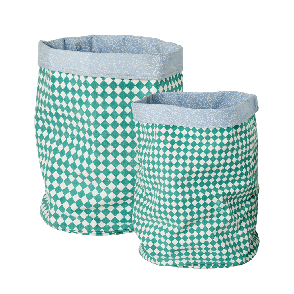 Green Check Fabric Storage Bags By Rice DK