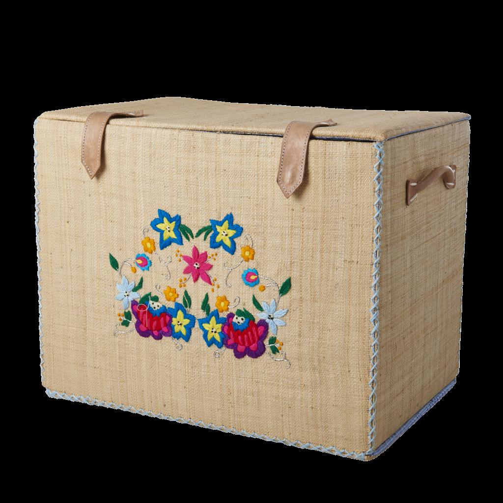 Medium Raffia Storage Basket Embroidered Flowers Rice