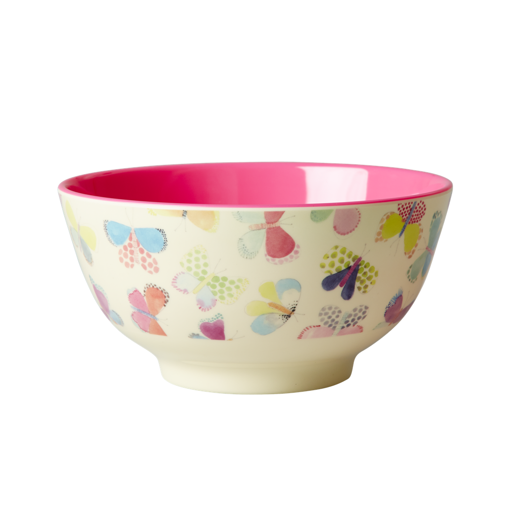 Rice Dk Colourful Butterfly Print Melamine Bowl Vibrant Home