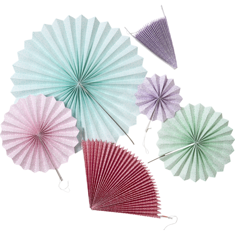 Set Of 6 Colourful Hanging Paper Fans Rice Dk Vibrant Home