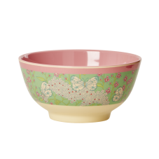 Butterfly & Flower Print Two Tone Melamine Bowl By Rice DK