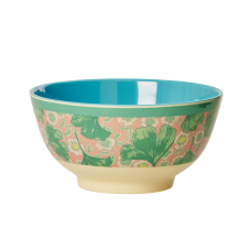 Leaves & Flower Print Two Tone Melamine Bowl By Rice DK