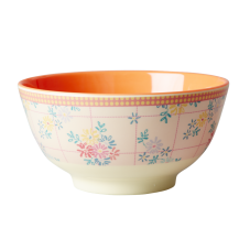 Orange Embroidered Flower Print Melamine Bowl By Rice