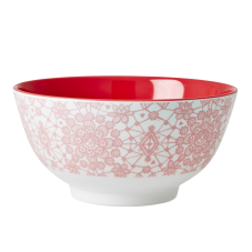 Coral Pink Lace Print Melamine Bowl By Rice DK