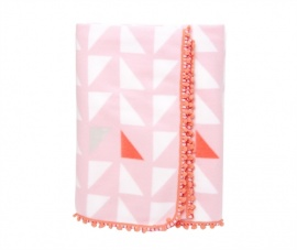 Pink & White patterned fleece blanket from Present Time