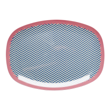 Rice DK Blue Sailor Striped Rectangular Melamine Plate