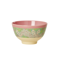 Butterfly and Flower Print Small Melamine Bowl By Rice DK