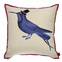 Blackbird embroidered linen cushion by Ginger
