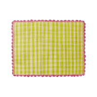 Raffia Placemat in Anis & Natural Check Pink Crochet Border By Rice