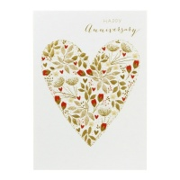 Heart Happy Anniversary Card By Sara Miller London