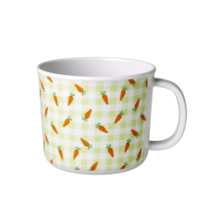 Baby melamine cup with handle green check & carrots by Rice DK