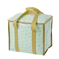 Cooler bag lemon print blue background gold handles Rice DK