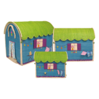 Gypsy Van Set of 3 Raffia Toy Baskets by Rice DK