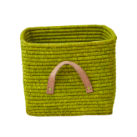Green Square Raffia Basket Leather Handles Rice DK