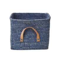 Blue Square Raffia Basket Leather Handles Rice DK
