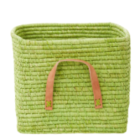 Bright Green Raffia Square Storage Basket Rice DK