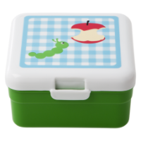 Kids Small Lunch Box blue check caterpillar apple core green base Rice DK