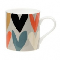 Caroline Gardner fine bone china mug Heart printed design