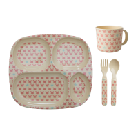 Pink Crab & Starfish Print Baby 4 Piece Melamine Dinner Set Gift Box Rice