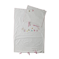 Baby Bed Linen  Set White with Pink Embroidery Rice DK