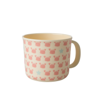 Baby Melamine Cup with Handle Pink Crabs Print Rice DK