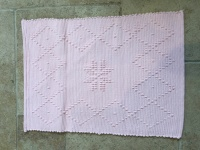 Soft Pink Cotton Bath Mat Diamond Pattern