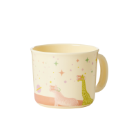 Baby Melamine Cup with Handle Pink Universe Print Rice DK
