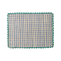 Raffia Placemat in Blue & Natural Check Jade Crochet Border By Rice