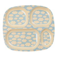 Kids 4 Room Melamine Plate Blue Cloud Print Rice DK