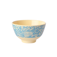 Blue Fern & Flower Print Small Melamine Bowl Rice DK