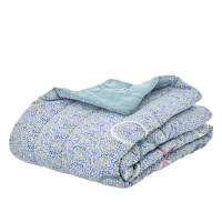 Blue Small Flower Print Cotton Quilt By Rice DK