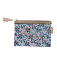 Blue Small Flower Print Zipped Pouch By Rice DK