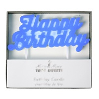 Blue Happy Birthday Candle By Meri Meri