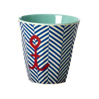 Blue Sailor Stripe & Anchor Print Melamine Cup Rice DK