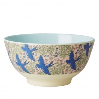 Blue Swallow Print Melmaine Bowl By Rice DK