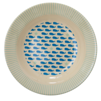 Kids Melamine Bowl Blue Whale & Starfish Print Rice DK