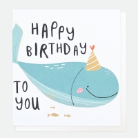 Blue Whale Happy Birthday Card By Caroline Gardner