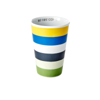 Porcelain Tall Cup with Blue & Green Stripe Print By Rice DK