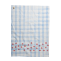 Blue Checked Cotton Tea Towel & Coral Dot Print Rice DK