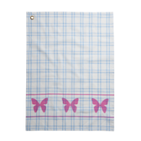 Blue Checked Cotton Tea Towel & Pink Butterfly Print Rice DK