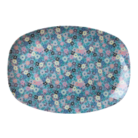 Small Blue Flower Print Rectangular Melamine Plate Rice DK