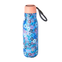 Blue With Flower Print Stainless Steel Water Bottle By Rice DK