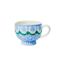 Ceramic Mug with Embossed Blue Flower Design Rice DK