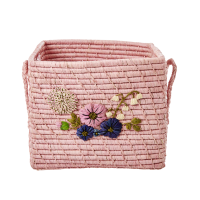 Raffia Square Basket Embroidered Flowers In Blush Pink By Rice