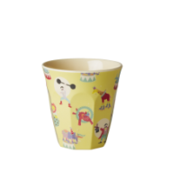 Yellow Circus Print Melamine Small Childs Cup Rice DK