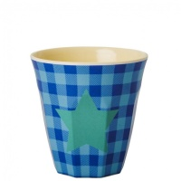 Kids Small Melamine Cup Blue Check Green Star Print Rice DK
