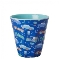 Kids Small Melamine Cup Dark Blue Car Print Rice DK