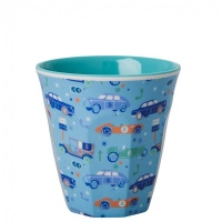 Kids Small Melamine Cup Light Blue Car Print Rice DK