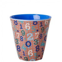 Kids Small Melamine Cup Retro Numbers in Brown Rice DK