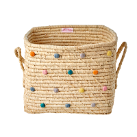 Bright Coloured Embroidered Dots Square Raffia Basket With Handles Rice DK